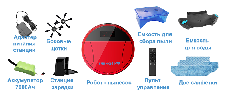 Комплектность робота пылесоса «Умник - Рубиновый»