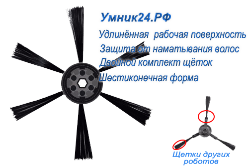 Удлиненные щетки шестиконечной формы робота пылесоса Умник